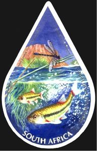Stamp: Biodiversity (South Africa) (International Year of Water Cooperation) Mi:ZA 2182 Surfboard, South Africa, African, Stamps, Water, Cards, Dimensional Shapes, Seals, Gripe Water