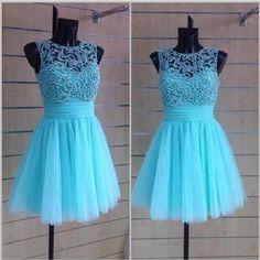 Cheap ball gown high neck sleeveless light blue tulle short cocktail dress