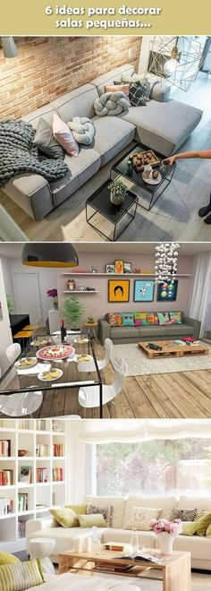 ▷ Decoration of small rooms. Ideas for small rooms. Home Living Room, Interior Design Living Room, Living Room Decor, Bedroom Decor, Living Room Colors, Small Living Rooms, Interior Sliding Barn Doors, Tips And Tricks, Office Interiors