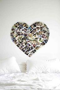 photos in the shape of a heart above your headboard