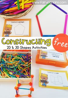 These free shapes activities for preschool, kindergarten, first grade and second grade help kids learn about shapes with Shape Activities Kindergarten, 3d Shapes Activities, Teaching Math, Preschool Shapes, Preschool Centers, Learning Shapes, Math Centers, Math Crafts, Diy Crafts
