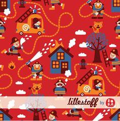 Lillestoff Fireman, organic jersey knit. Zachte tricot met brandweer, GOTS