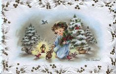 Old Christmas Post Сards —  Angel with Woodland Animals  (1000x644)