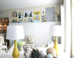 Love, Love, LOVE the picture wall and beaded board shelf!  Thinking gray and yellow for the living room.