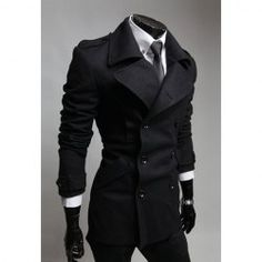 Fashionable Casual Style Turn Down Collar Slimming Double-Breasted Coat For Men