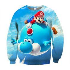 Super Mario Blue Yoshi Fly Cute Trendy Gaming Sweatshirt  #SuperMario #BlueYoshiFly #CuteTrendyGamingSweatshirt
