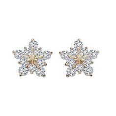 CZ Studded Brass Stud Earring