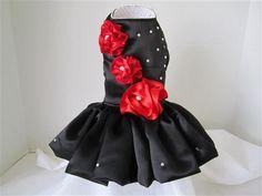 Perro vestido negro con rosas rojas