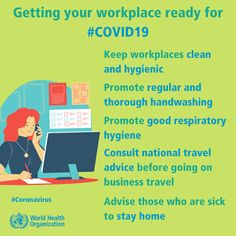 WHO guidance on how to prevent the spread of in a workplace to protect your customers, contractors and employees covid Getting your workplace ready for Health And Safety, Health And Wellness, International Health, Encouragement, World Health Organization, Co Working, Hygiene, Safety Tips, Health Advice