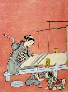 Suzuki Harunobu ( 1725? – 1770) Weaving (Hataori, 機織り)