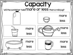 Capacity Activities for Beginners by Classroom Base Camp Capacity Activities, Capacity Worksheets, Preschool Activities, Math Classroom, Maths, Teaching Measurement, Volume And Capacity, Math Practices, Home Learning
