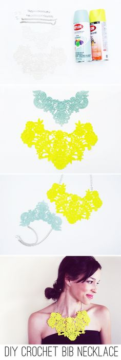 In Honor Of Design: DIY: Crochet Bib Necklace in Neon or Mint