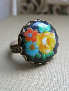 Vintage Flower Ring glass cabochon adjustable