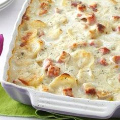 """This recipe has evolved over the past eight years. After I added the thyme, ham and sour cream, my husband declared, """"This is it!"""" I like to serve this rich, saucy entree with a salad and homemade French bread. Best Potato Recipes, Scalloped Potato Recipes, Potato Ideas, Favorite Recipes, Potato Dishes, Food Dishes, Main Dishes, Potato Rice, Vegetable Side Dishes"""