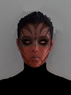So a while back I did a sketch of a sith girl for a friend because she wanted to dress up as one for con. sith make up test Clone Wars, Star Wars Sith, Star Wars Rpg, Covergirl Makeup, Fx Makeup, Robot Makeup, Star Wars Tattoo, Star Wars Poster, Carrie Fisher