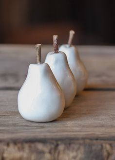 ceramic mini pears  real twig stems  white  set of by cravestudio, $18.00