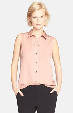 Theory 'Yarinne' Sleeveless Silk Blouse available at Sleeveless Blouse, Work Wear, Nordstrom, Theory, Silk, Tees, Sweaters, How To Wear, Shopping