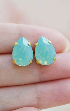 Mint and gold ear studs
