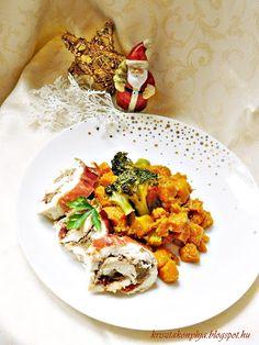 Kriszta konyhája- Sütni,főzni bárki tud!: Gesztenyés-áfonyás csirkemelltekercs brokkolis süt...