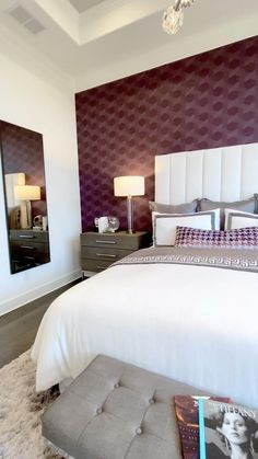 Purple and white bedroom decor Beautiful owner's suite bedroom with purple wallpaper accent behind t White Bedroom Decor, Bedroom Wall Colors, Small Room Bedroom, Home Decor Bedroom, Small Rooms, Bedroom Ideas, Master Bedroom, Bedroom Ceiling, Modern Bedroom Furniture