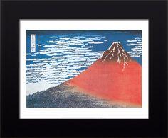 Hokusai Mt. Fuji Volcano Lava Blue Sky Framed Print Limited RARE ** BIHI