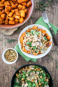 Cheesy Sweet Potato & Chickpea Bowl with Lemon Tahini Sauce