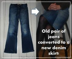From jeans to skirt... yay! And some other upcycle ideas!