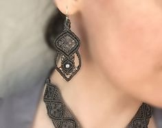 Beaded Grey Macrame Earrings by prettyknotsnbeads. Explore more products on http://prettyknotsnbeads.etsy.com