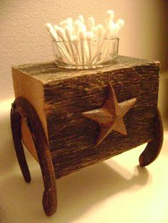 Rustic bathroom piece ~ need to make these cute