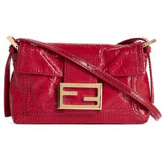 Pre-owned What Goes Around Comes Around Fendi Patent Baguette Bag... ($635) ❤ liked on Polyvore featuring bags, handbags, clutches, red, patent handbags, magnetic closure handbags, red patent leather handbag, red clutches and pre owned purses