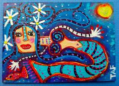 Tracey Ann Finley Original Outsider Raw Folk ACEO Painting Mermaid Red Fish Star #OutsiderArt