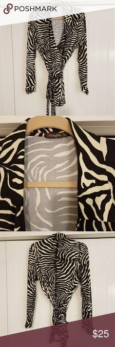 J.McLaughlin wrap blouse Zebra print 91% nylon 9% spandex wrap blouse XL J. McLaughlin Tops Tunics