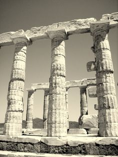 Temple Of Poseidon, Cape Sounion near Athens - constructed 444-440 BC - Doric capitals - fluted columns, #Greece