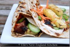 grilled hawaiian teriyaki chicken wraps-- easy to adjust this with no sugar and no flour for the husband!