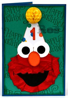 Stampin' Up!, paper piecing, punch art, Elmo, paper scrunching, big shot, large number framelits, party animal designer series paper, washi tape, blog hop, art with heart, first birthday, 1st birthday