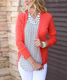 Bella Ella Boutique Bright Orange Brass-Button Cardigan | zulily
