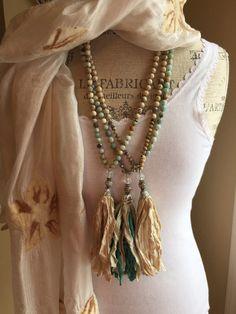 Sari silk gemstone hand knotted blues bohemian by MarleeLovesRoxy