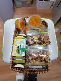 Made this basket of healthy snacks for the kids