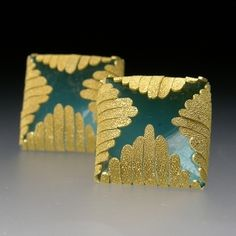 Jacqueline Ryan: Square Earrings with fronds, 18K gold with enamel