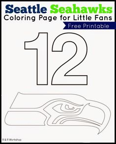 Seattle Seahawks Coloring Page for little fans www.randrworkshop.com #seahawks #kids #superbowl