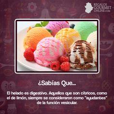 ¿#SabíasQue El helado es digestivo? #Curiosidades #Gastronomía Curious Facts, Food Facts, True Facts, A Table, Did You Know, Decir No, Natural Remedies, Memes, Words