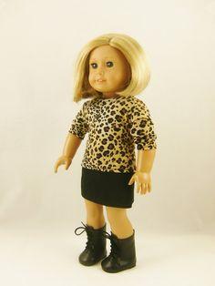 Fits 18 Inch Dolls 2 Piece Set Leopard Cheetah T by dressurdolly2, $13.00