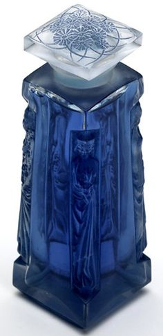 *1907 Lalique Ambre for D'Orsay perfume bottle in clear and frosted glass with blue patina