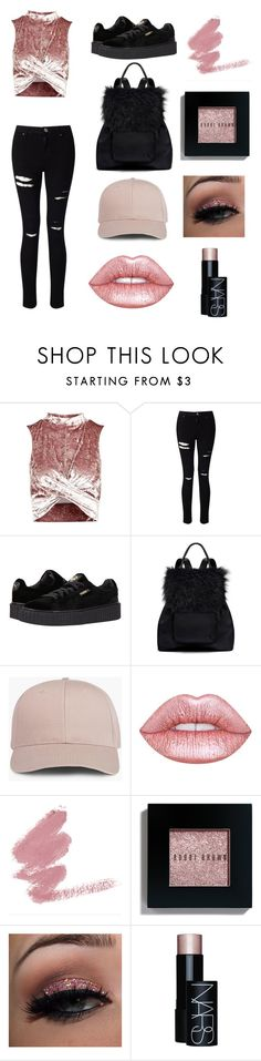 """"" by georrgiace ❤ liked on Polyvore featuring Topshop, Miss Selfridge, Puma, Elizabeth and James, Lime Crime, Bobbi Brown Cosmetics and NARS Cosmetics"