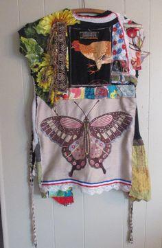 myBonny Butterfly Garden Fabric Collage Folk Art Couture