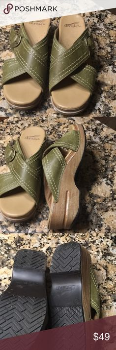 "Dansko sandals Distressed green cross-crossed leather.  Never worn.  2"" heels, 1"" platform. Dansko Shoes Sandals"