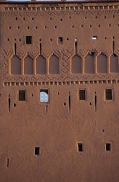 Close-up of decorated wall, Marrakesh's Pacha Past Palace, Taourirt Kasbah, Ouarzazate, Morocco, North Africa, Africa