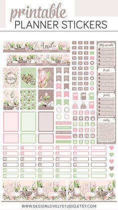 Mini Happy Planner Printable April Stickers #plannerstickers #printable #downloadable #spring