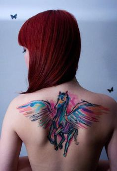 Red hair girl with Pegasus tattoo on her back. #tattoo #tattoos #ink #inked