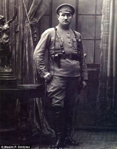 Among Dmitriev's subjects , who fought for the White army against the Bolshevik reds during the Russian Civil War of 1917-23;  right, military commissioner Orlov in 1928